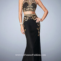 Two Piece Sequin Illusion Top Long Gigi Prom Dress
