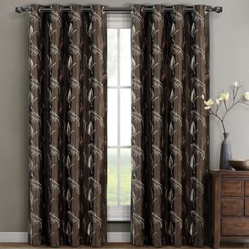 Chocolate Embroidered Olivia Window Curtain Panels (Two Panels )