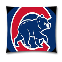 MAMA MLB Chicago Cubs Cotton Throw Pillowcase with Zipper for Baseball Fans, Cubs Pillow Covers 18x18 Inch (45x45 Cm)