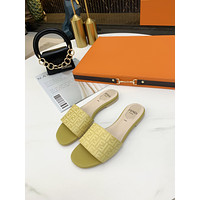 Fendi classic casual home beach sandals for men women trendy slippers sandals Shoes