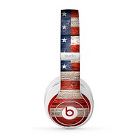 The Wooden Grungy American Flag Skin for the Beats by Dre Studio (2013+ Version) Headphones