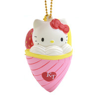 10PCS/Lot Original Cartoon Hello Kitty IceCream Squishy Phone Straps Soft Strawberry Heart Bread Scented Licensed Toy