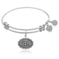 Expandable Bangle in White Tone Brass with Gamma Phi Beta Symbol
