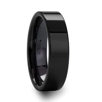 ACIS Flat Polish Finished Black Ceramic Wedding Ring For Him and Her - 4mm - 12mm