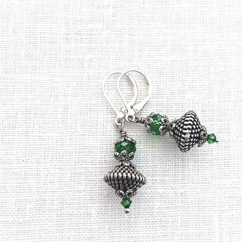 Silver Leverback Earrings, Emerald Green Crystal, Lightweight Silver Dangle, Womens Fashion Jewelry, 603