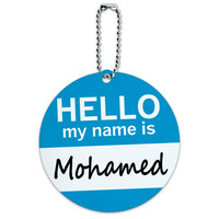 Mohamed Hello My Name Is Round ID Card Luggage Tag
