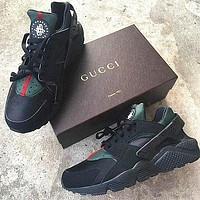 Nike Gucci Drops the Air Huarache New Fashion Women Men Ultra Sports shoes Black&green