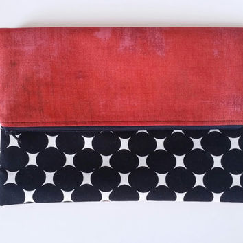 Black & White Dot And Red Slouchy Fold-over Zipper Lined Clutch Bag
