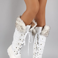 Faux Fur Cuff Lace Up Nylon Knee High Boots