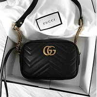 Supergirls22 GUCCI trendy women's classic fashion leather shoulder bag F black
