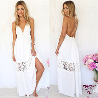 Sexy Women White Lace  Party Summer Beach Backless Maxi Long Hobo Dress