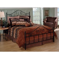 Queen Size Black Metal Bed with Scrollwork Headboard & Footboard