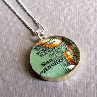 San Francisco  Map Necklace in Sterling Silver by sherrytruitt