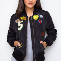 Chatterbox Patched Bomber Jacket - Black
