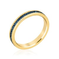Stylish Stackables With Deep Blue Crystal Ring, size : 10