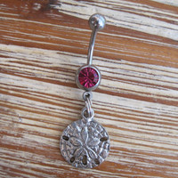 Belly Button Ring - Body Jewelry -Sand Dollar with Pink Gem Stone Belly Button Ring