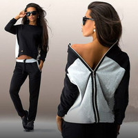 Black and White Mixed Color Zipper Sweater Suit