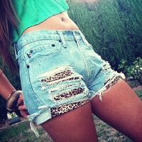 FREE SHIPPING Made to Order US Sz 1-10 - High Waisted and Distressed Shorts Layerd with Leopard Print Front Pockets