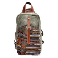 MapleClan Vintage Tribal Print Denim & Canvas Backpack Chest pack Army green