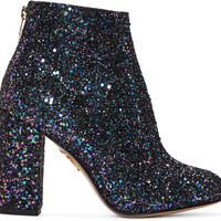 Blue Glittered Alba Ankle Boots
