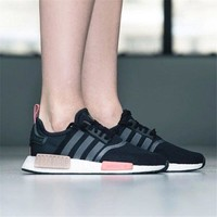 Best Online Sale Adidas NMD R1  Black Pink s75234 Boost Sport Running Shoes Classic Casual Shoes Sneakers