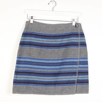Vintage 1990s Skirt Boho Southwestern Striped Blanket Skirt 90s Skirt Gray Blue Bohemian Festival Wrap Skirt Mini Skirt M Medium L Large