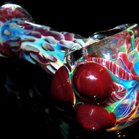 Solid Glass Pipe w/ Dark Red Color Drop Pattern, Triple Marble Grip & Matching Latti - Color Changing Deep Large Spoon Bowl Fumed w/ Silver