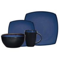 Gibson Soho Lounge Square 16-Piece Dinnerware Set, Blue, Service for 4