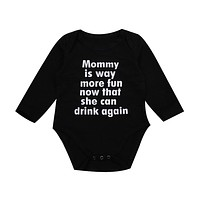 Cotton Newborn Baby Girl Boy Clothes Long Sleeve Letter Romper Jumpsuit Playsuit Outfit