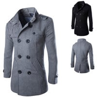 Double Breasted Men Fashion PEA Wool Coat
