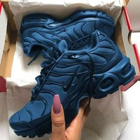 NIKE New Fashion Air Max Plus Tn Ultra Army Green Wave Sneakers Women Men Sports Shoes Navy blue
