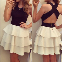 Sleeveless Crossback Layered Skater Dress
