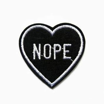 """Black Heart """"Nope"""" Patch"""