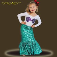 The little Mermaid Clothing Sets for Girls Purple Shell Long Sleeve T Shirts &  Ariel Green Skirts Toddler Kids Party Dresses