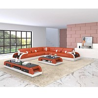 Corner Sectional Leather Sofa With Side Storage