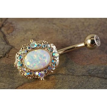 Sparkly White Fire Opal Gold Belly Button Ring