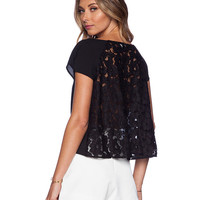Lace Short Sleeve Cropped Top