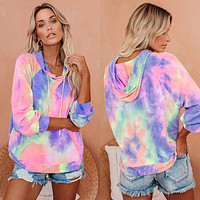 Casual color tie-dye hooded drawstring loose long-sleeved sweater Colorful