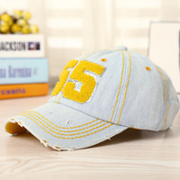 Vintage Retro Yellow Denim Baseball Cap Hot Summer Gift 41