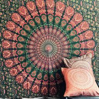 Indian Throw Hippie Gypsy Cover Bohemian Dorm Deco 100% Cotton Hand Printed Block Print Design Mandala Tapestry Wall Hanging Beach Bedspread