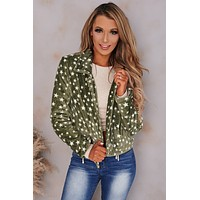 Catching Stars Faux Fur Star Jacket (Olive)