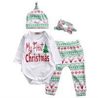 Pudcoco 4-piece Baby Clothes Bodysuit Pants Hats Headband My first Christmas Letter Newborn Infant Children Clothing
