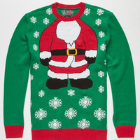Ugly Christmas Sweater Santa Mens Light Up Sweater Green  In Sizes