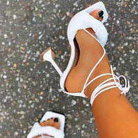 Summer fashion new style female zhahua vamp with back lace fish mouth white sandals Shoes