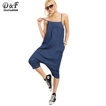 Dotfashion Ladies Sexy Blue Denim Overall Pants With Pockets Buttoned Drop Crotch Casual Woman Spaghetti Stripe Jumpsuits