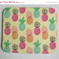SALE -- Mouse Pad mousepad / Mat - Rectangle or round - pink blue green pineapples - cubicle decor office desk coworker gift