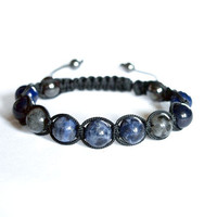 Sodalite and Lapis Lazuli Mens Bracelet, Larvikite Black Labradorite Bracelet, Adjustable Beaded Unisex Bracelet, Unique Gift for Him