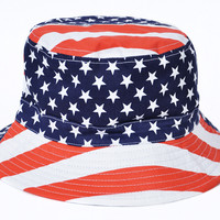 Reversible Bucket Hat Patriotic American Flag July 4 Red White Blue One Size