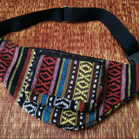 Multicolored Hip purse Fanny pack bag Boho Ethnic tribal pattern fabric belt festival Pouch Travel phanny waist Hippies Bohemian red blue