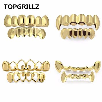 TOPGRILLZ Pure Gold Color Plated HIP HOP Teeth Grillz Top & Bottom Grill Set With silicone Vampire Teeth ship from US